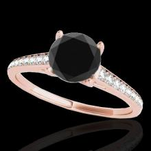 Genuine 2.0 CTW Certified Black Genuine Diamond Solitaire Bridal Ring Gold - 34857-REF#76G5W