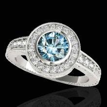 Genuine 1.35 CTW Certified Fancy Blue Genuine Diamond Solitaire Halo Ring Gold - 33896-REF#116V7F