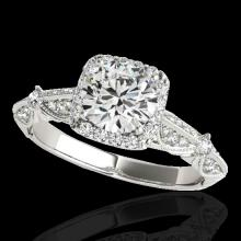 Genuine 1.36 CTW Certified G-I Genuine Diamond Bridal Solitaire Halo Ring Gold - 33751-REF#113X2A