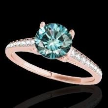 Genuine 2.0 CTW Certified Fancy Blue Genuine Diamond Solitaire Bridal Ring Gold - 34859-REF#176Z5Y