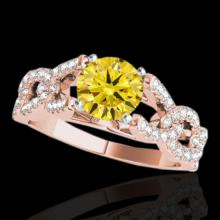 Genuine 1.50 CTW Certified Fancy Intense Genuine Diamond Solitaire Ring Gold - 35222-REF#121K8T