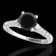 Genuine 1.45 CTW Certified Black Genuine Diamond Solitaire Bridal Ring Gold - 34982-REF#57M3H