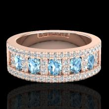 Natural 2.0 CTW Topaz & Micro Pave Diamond Designer Inspired Band Ring 10K Gold - 20818-REF#48F8M