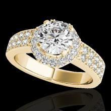 Genuine 1.40 CTW Certified G-I Genuine Diamond Bridal Solitaire Halo Ring Gold - 34551-REF#118X2A