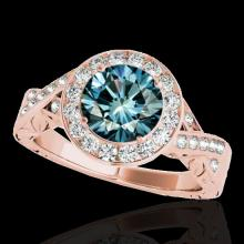 Genuine 1.75 CTW Certified Fancy Blue Genuine Diamond Solitaire Halo Ring Gold - 34528-REF#180N5G