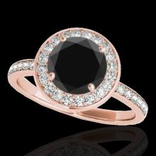 Genuine 1.65 CTW Certified Black Genuine Diamond Bridal Solitaire Halo Ring Gold - 34373-REF#128A3N