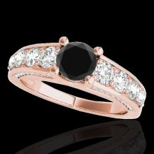 Genuine 2.55 CTW Certified Black Genuine Diamond Bridal Solitaire Ring Gold - 35511-REF#136X7A