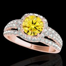 Genuine 2.25 CTW Certified Fancy Intense Genuine Diamond Solitaire Halo Ring Gold - 34015-REF#170N6G