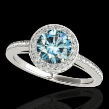 Genuine 1.55 CTW Certified Fancy Blue Genuine Diamond Solitaire Halo Ring Gold - 34279-REF#129Y7V