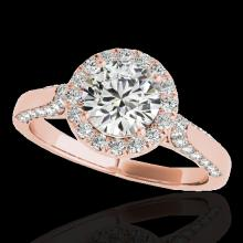 Genuine 1.50 CTW Certified G-I Genuine Diamond Bridal Solitaire Halo Ring Gold - 33563-REF#117T5X