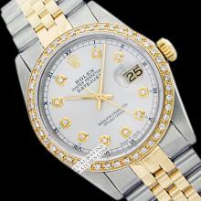 Rolex Men's 2Tone 14K Gold/ SS, QuickSet, Diamond Dial & Diamond Bezel - REF#458K2A