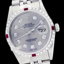 Rolex Men's Stainless Steel, QuickSet, Diam Dial & Diam/Ruby Bezel - REF#425G5R
