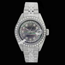 Rolex Ladies Stainless Steel, Diam Dial & Diam/Sapphire Bezel, Saph Crystal - REF#360W2Z