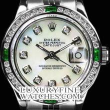 Rolex Men's Stainless Steel, QuickSet, Diam Dial & Diam/Emerald Bezel - REF#458J2Y