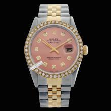 Rolex Men's 2Tone 14K Gold/ SS, QuickSet, Diamond Dial & Diamond Bezel - REF#458V2H