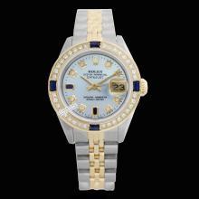 Rolex Men's 2Tone 14K Gold/ SS, QuickSet, Diam/Sapphire Dial & Diam Bezel - REF#458Y2N