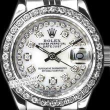 Rolex Ladies Stainless Steel, Diamond Dial & Diamond Bezel, Saph Crystal - REF#349K3A