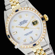 Rolex Ladies 2Tone 14K Gold/ Stainless Steel, Diam Dial & Diam/Sapphire Bezel, Saph Crystal - REF#332V7H