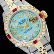 Rolex Ladies 2Tone 14K Gold/ Stainless Steel, Diam Dial & Diam/Ruby Bezel, Saph Crystal - REF#327G3R