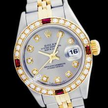 Rolex Ladies 2Tone 14K Gold/ Stainless Steel, Diam Dial & Diam/Ruby Bezel, Saph Crystal - REF#321W8Z