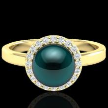 Genuine 0.25 CTW Micro Pave Halo Diamond Certified & Peacock Pearl Ring 18K Gold - 21637-REF#47K7T