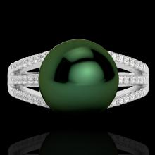 Natural 0.30 CTW Micro Pave Diamond Certified & Peacock Pearl Ring 18K Gold - 22628-REF#45W5K