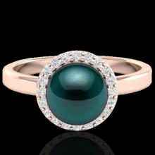 Genuine 0.25 CTW Micro Pave Halo Diamond Certified & Peacock Pearl Ring 14K Gold - 21635-REF#41X2A