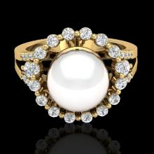 Genuine 0.83 CTW Micro Pave Diamond Certified & White Pearl Halo Ring 18K Gold - 20707-REF#62F4M