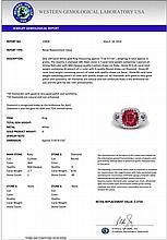 3.15 CTW Ruby & Micro Diamond Certified Ring 18K White Gold - 23008-REF#69T2Z