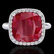 6 CTW Ruby & Micro Pave Halo Diamond Certified Ring Solitaire 18K White Gold - 23102-REF#53X2Y