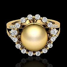 0.83 CTW Micro Pave Diamond Certified & Golden Pearl Halo Ring 18K Yellow Gold - 20703-REF#62W4H