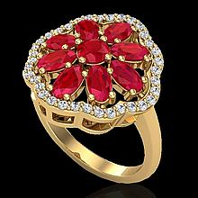 4 CTW Ruby & Diamond Certified Cluster Designer Halo Ring 10K Yellow Gold - 20785-REF#45W5H