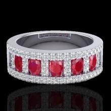 Natural 2.34 CTW Ruby & Micro Pave Diamond Designer Inspired B& Ring 10K Gold - 20826-REF#49Z2Y