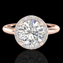 Natural 2.0 CTW Micro Pave Diamond Certified Ring Designer Halo 14K Gold - 23210-REF#784M3H
