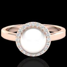 Genuine 0.25 CTW Micro Pave Halo Diamond Certified & White Pearl Ring 14K Gold - 21645-REF#41N2G
