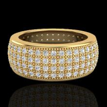 Natural 2.50 CTW Micro Pave Diamond Eternity Bridal B& Ring 18K Gold Size 7.5 - 20884-REF#146M2H