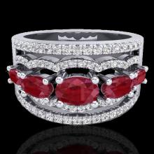Natural 2.25 CTW Ruby & Micro Pave Diamond Certified Designer Ring 10K Gold - 20802-REF#59Y5V