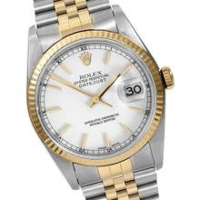 Pre-owned Excellent Condition Authentic Rolex Quickset Men's 18K/Stainless Steel DateJust White Dial Watch - REF#-289G2N