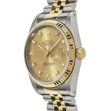 Pre-owned Excellent Condition Authentic Rolex Quickset Men's 18K/Stainless Steel DateJust Champagne Dial Watch - REF#-310M4F