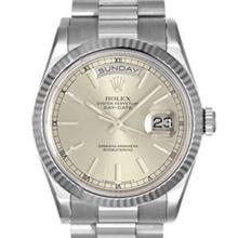 Pre-owned Excellent Condition Authentic Rolex Quickset Men's 18K White Gold Day-Date Silver Dial Watch - REF#-960V2Y