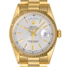 Pre-owned Excellent Condition Authentic Rolex Quickset Men's 18K Yellow Gold Day-Date Silver Dial Watch - REF#-960K4W
