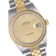 Pre-owned Excellent Condition Authentic Rolex Quickset Men's 18K/Stainless Steel DateJust Champagne Dial Watch - REF#-339X2R