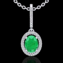 Natural 2.0 CTW Emerald & Micro Pave Diamond Necklace Solitaire Halo 18K Gold - 20658-REF#47Y3V