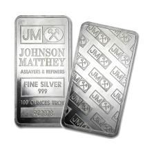 One piece 100 oz 0.999 Fine Silver Bar Johnson Matthey Pressed version
