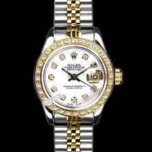 Rolex Ladies 2Tone 14K Gold/ Stainless Steel, Diamond Dial & Diamond Bezel, Saph Crystal - REF#321T8V