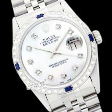 Rolex Men's Stainless Steel, QuickSet, Diam Dial & Diam/Sapphire Bezel - REF#425F5W