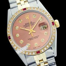 Rolex Men's 2Tone 14K Gold/ SS, QuickSet, Diam Dial & Diam/Ruby Bezel - REF#458F2W