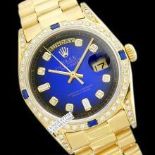 Rolex Men's 18K Yellow President, QuickSet, Diam Dial & Diam/Sapphire Bezel - REF#1292A7F
