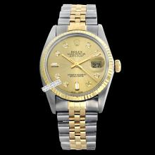Rolex Ladies 2Tone 14K Gold/ Stainless Steel, Diamond Dial Fluted Bezel, Saph Crystal - REF#212G7R