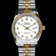 Rolex Men's 2Tone 14K Gold/ SS, QuickSet, Diamond Dial & Diamond Bezel - REF#458X2G